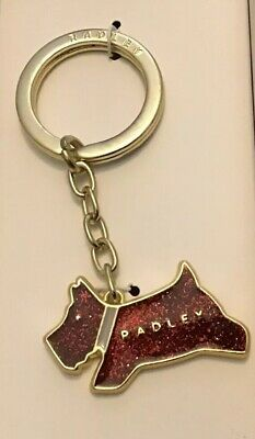 Radley New Red Sparkly Enamel Keyring In Box Jumping Pageant Dog