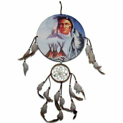 30cm Diameter Native American Artwork Indian Chief, Wolf & Teepees Dreamcatcher