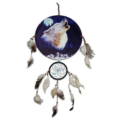 30cm Diameter Canvas Native American Artwork Howling Wolf and Moon Dreamcatcher