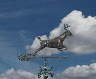 3Dimensional JUMPING DEER Weathervane AGED COPPER PATINA FINISH Handcrafted NEW