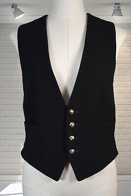 """Excellent Vintage Gents Bespoke Wool & Satin Military Waistcoat 38"""" Chest"""