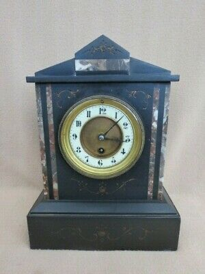 Antique French Black Slate And Marble Timepiece Mantel Clock