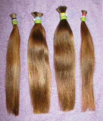 HUMAN HAIR FOUR SILKY DARK BLONDE PONYTAILS FROM ONE FEMALE HAIRCUT 3.1ozs P50