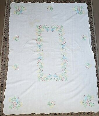 Vintage Floral Cross Stitch Tablecloth Birds Flowers Large Linen Scalloped Edge