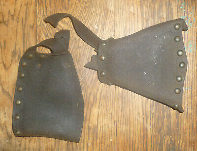 antique Brass & Embossed WESTERN LEATHER STIRRUP Saddle Part Dry Tired & Old