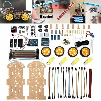 4WD Robot Car Kit bluetooth IR Obstacle Avoid Line Follow L298N for Arduino