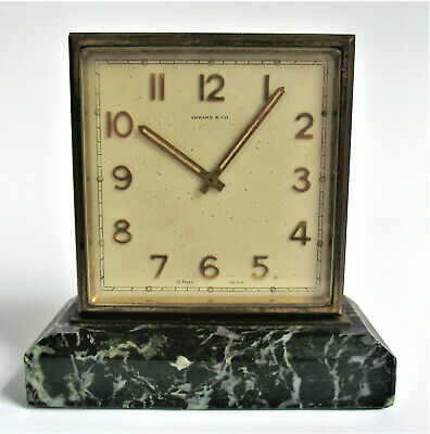 Antique TIFFANY Deco PARTNERS DESK CLOCK Double Sided BRONZE MARBLE 8 DAY SWISS