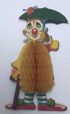 Rare 1950s  Vintage  CLOWN WITH BROLLY Christmas Honeycomb Decoration.