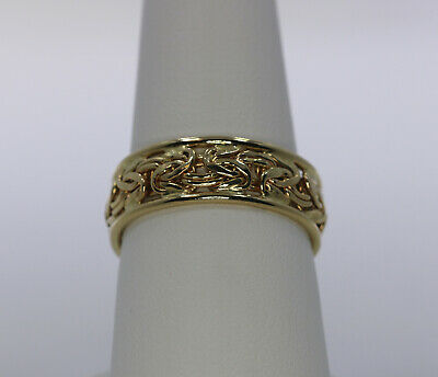 Vintage 14k Yellow Gold Flattened Byzantine Chain Band Ring