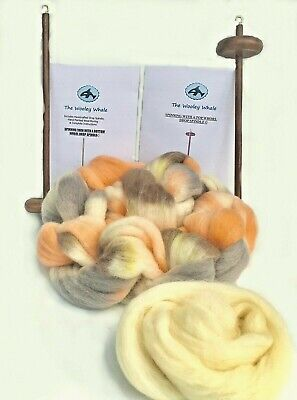Double Drop Spindles Yarn Spinning Kit Maple Wood Colorway, Calico Kitty