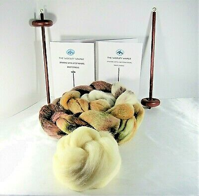 Double Drop Spindles Yarn Spinning Kit Maple Wood Colorway, Good Earth