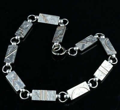 VERY FINE c1890 VICTORIAN JAPANESE AESTHETIC MIXED METAL SILVER GOLD NECKLACE