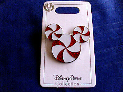 Disney * PEPPERMINT CANDY CANE MICKEY EARS ICON * New on Card Holiday Pin