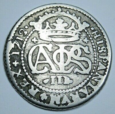 1712 Spanish Silver 2 Reales Colonial Authentic Piece of 8 Two Bits Pirate Coin