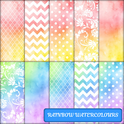 RAINBOW WATERCOLOURS SCRAPBOOK PAPER - 12 x A4 pages.