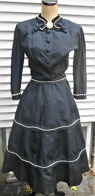 VINTAGE 1950'a BLACK SILK FAILLE DRESS WITH RHINESTONES & PEARLS BY NAT KAPLAN