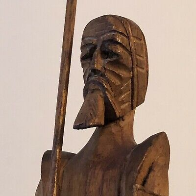 "Vintage Hand Carved Warrior Wood Figure w/ Beard Spear & Shield RARE 21"" Tall"