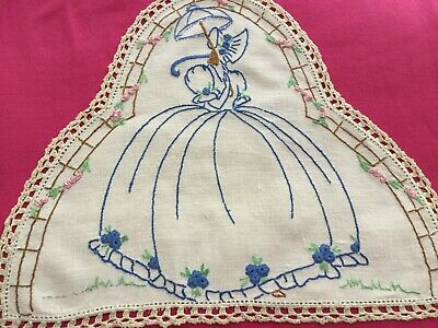 Vintage Hand Embroidered Bell Shaped Doily- Pretty Crinoline Lady