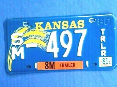 KANSAS License Plate, 1981 Sticker, Trailer, Expired,  Collectible. FREE Ship US