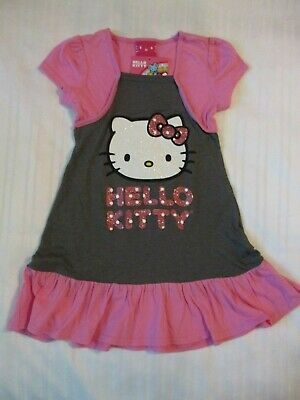 Girls Hello Kitty Sz 5 Short Sleeve Dress Pink Gray White Sparkle Design Cotton