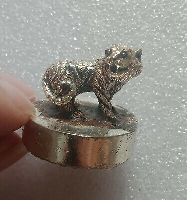 Exquisite DISTINCTIVE CHINESE TIBET SILVER COPPER PURE HAND-CARVED LION STATUE