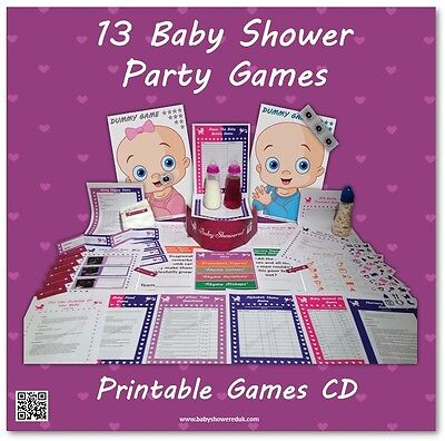 Baby Shower Party Games CD  -  SAVE £'s BY PRINTING YOURSELF    13 games