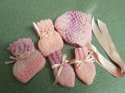 Hand Knitted Baby Bonnet, Bootees & Mittens Set - Pink Rainbow - 0-6 Months