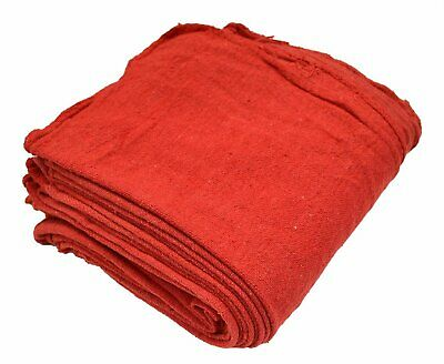 Basics Reusable Shop Towels in Red color Cleaning rags 12' x 14', Pack of 100