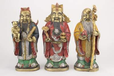Lu, Fu, Shou Gods from China, Bronze Figures F.Wealth, Glück and Health