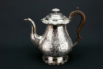 1820 Large Coffee Pot Silver Plate Teapot Antique Old Sheffield Engraved Retro