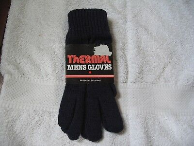 Brand New With Tags Thermal Mens Gloves Dark Blue Made In Scotland 50% Wool