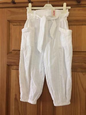 BNWT NEXT STUNNNG WHITE COTTON GIRLS Trousers Age 10 Lovely details