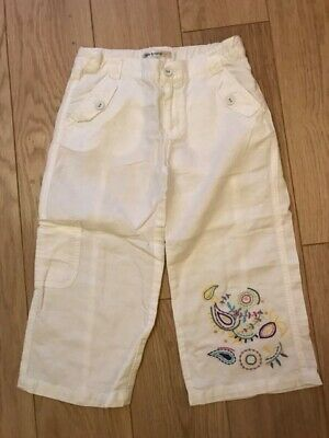 New M&S Autograph White Linen & Cotton Cropped Trousers Age 14 Holidays Parties