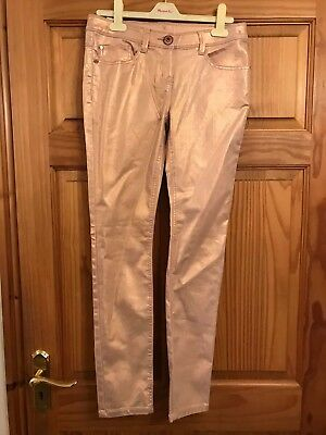 BNWT NEXT Girls PINK SPARKLY STRETCH PARTY JEANS TROUSERS 14 years
