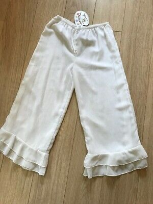 BNWT Fabulous Designer WHITE RUFFLE PANTS TROUSER Age 9 10 by BALU of Cape Town