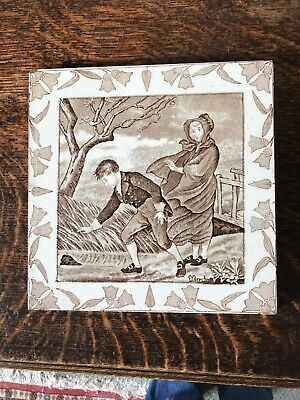 MARCH Antique WEDGWOOD MONTHS CALENDAR TILE c1880 Old English Windy !!!