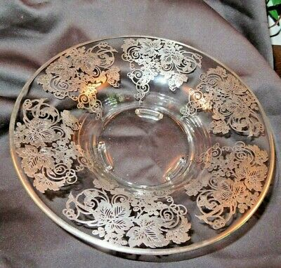 """Vintage Sterling Overlay Glass Centerpiece Low Bowl  Under Plate 12"""" x 3"""""""