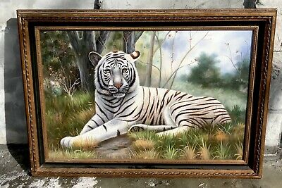 "- Beautiful 30.5""x42.5"" Framed Oil Painting Antique-Style White Tiger Cat Asian"