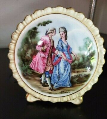 COALPORT Bone China  Round Standing Framed Courting Couple  Made In England