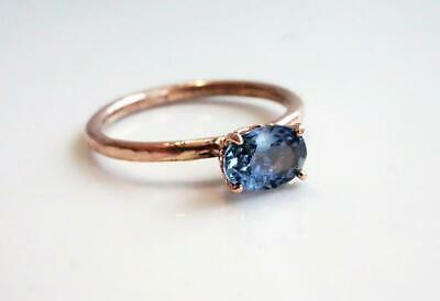14k Yellow Gold Oval Blue Sapphire Solitaire Engagement Ring Fine Jewelry US 7