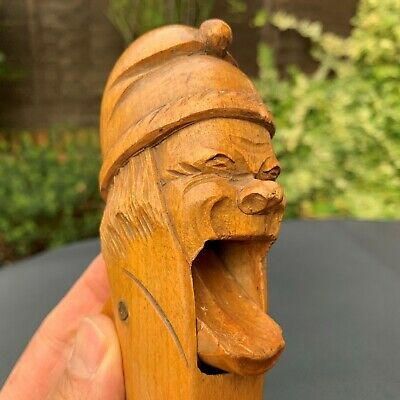 Antique German Hand Carved Black Forest Nut Cracker Angry Old Man Gnome Dwarf