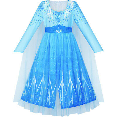 Girls Dress Frozen 2 Elsa Anna Costume Birthday Party Age 4-12 Years Pageant