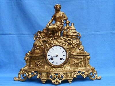 Antique French, Spelter Cased, 8 Day Striking Mantle Clock.
