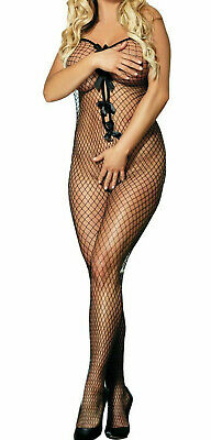 Black fishnet with bows Bodystocking One Size All In One Bodysuit crotchless