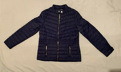 Massimo Dutti Girl's Navy Coat. Size 13-14 Years. Excellent Condition.