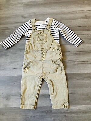 Next 'Smile' Dungaree Outfit with Long Sleeved Bodysuit Age 9-12 Months