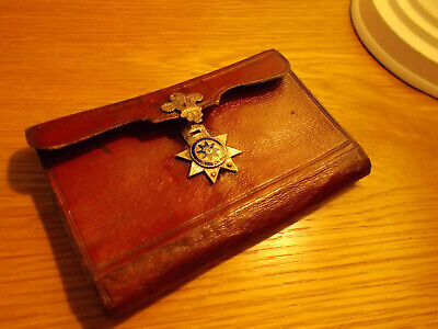 Antique Victorian Red Leather Gentlemans Aide Memoire White Metal Enamel