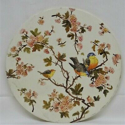 Large Victorian Aesthetic Round Tile, Cheese/Meat Stand, Scale Plate?? c1880