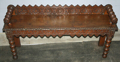 Victorian narrow oak carved gothic hall settle window seat bench