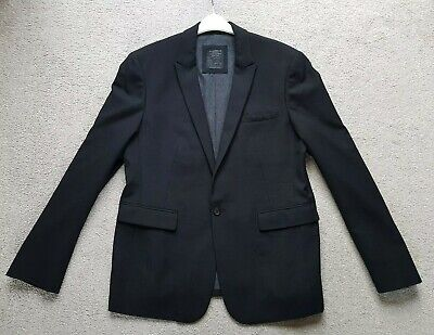 "Genuine ""Allsaints"" Black Fitted 1 Button Wool Blazer Jacket 44"" Chest Ex.cond!"